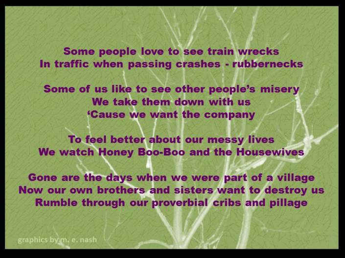 train wrecks misery loves company