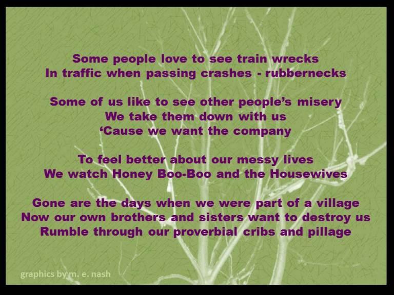 train wrecks misery loves company